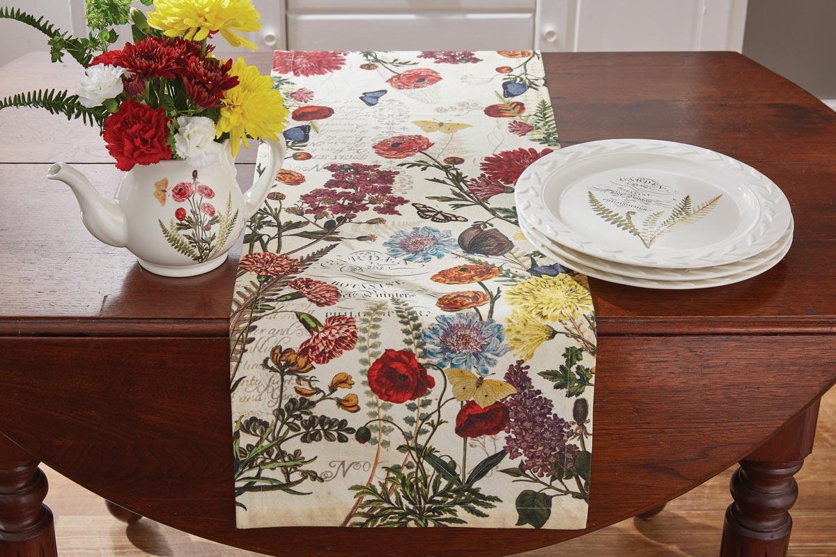 "GARDEN BOTANIST Floral 13/""x54/"" Table Runner by Park Designs"