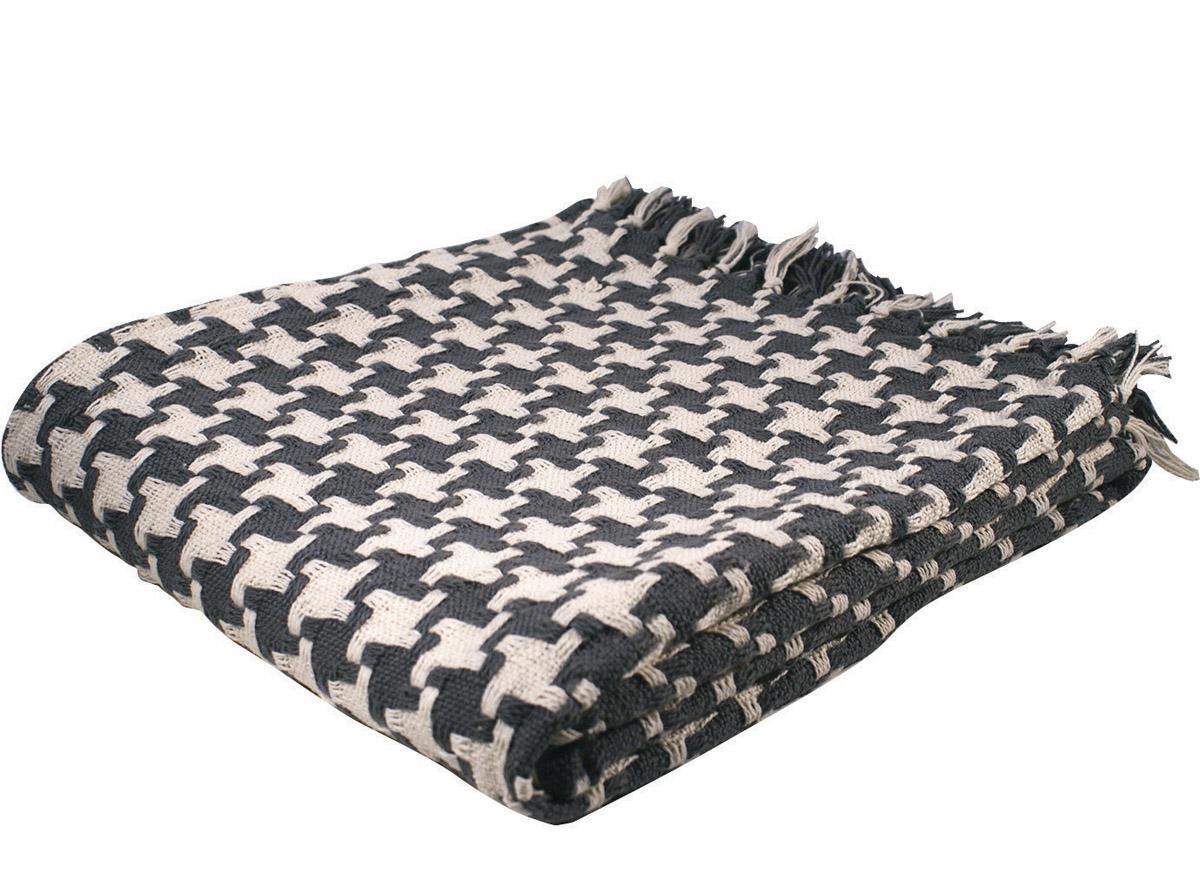 Split P Charcoal and Natural Diamond Throw Blanket