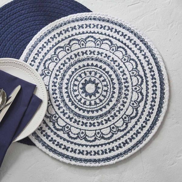 Zuri Medallion Printed Round Placemat Navy Split P