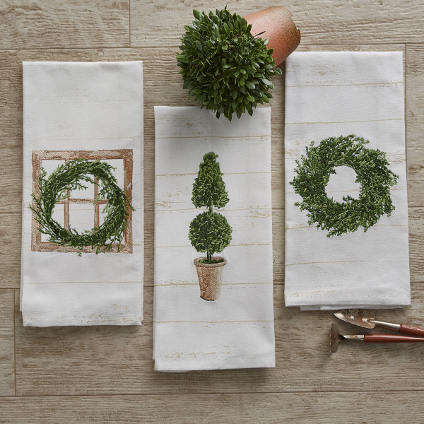 Boxwood Topiary Embroidered Dishtowel Park Designs